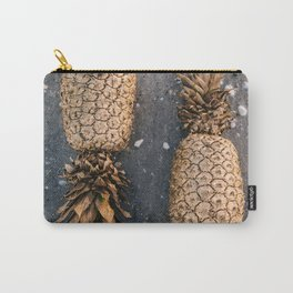 Gold Pineapple Print Carry-All Pouch