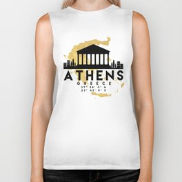 ATHENS GREECE SILHOUETTE SKYLINE MAP ART Biker Tank