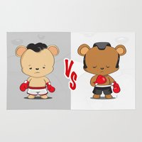 boxing Area & Throw Rugs featuring Boxing Bears by Yolanda Yvette