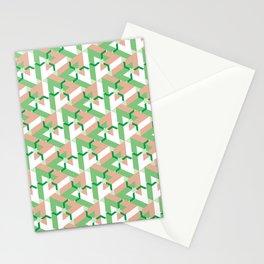 Triangle Optical Illusion Green Medium Stationery Cards