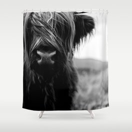 Scottish Highland Cattle Baby - Black and White Animal Photography Shower Curtain