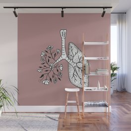 Floral Lung Illustration — Half Floral Human Lung Anatomy Design Wall Mural