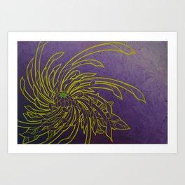 Aureolin Chrysanthemum spiral Art Print