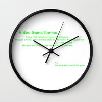 video game Wall Clocks featuring Video Game Karma by DraconianBriana