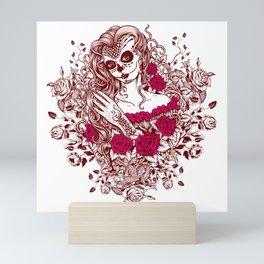 Sexy Woman zombie WITH Flower - Razzmatazz Mini Art Print