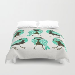 Turquoise Finches Duvet Cover