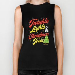 Twinkle Lights & Christmas Trees T Shirt Biker Tank