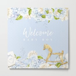Welcome Baby Boy - Solid Background Option Metal Print