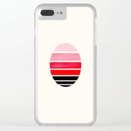 Red Mid Century Modern Minimalist Circle Round Photo Staggered Sunset Geometric Stripe Design Clear iPhone Case