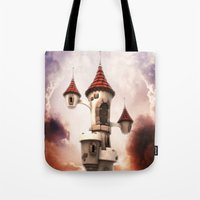 castle in the sky Tote Bags featuring Castle in the Sky by Heidy Curbelo