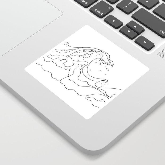 Minimal Line Art Ocean Waves Sticker