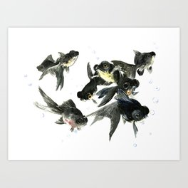 Black Moor, Feng Shui Fish, Good Luck design art, zen brush fish, black fish Art Print