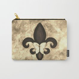 Sepia Gold and Brown Fleur de Lis with Butterfly Carry-All Pouch