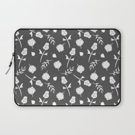 Charcoal Gray and White Floral Pattern Laptop Sleeve
