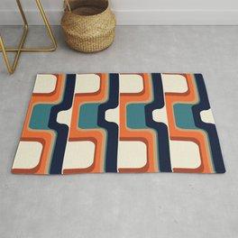 Mid-Century Modern Meets 1970s Orange & Blue Rug
