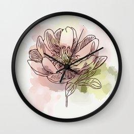 Watercolor Dahlia Wall Clock