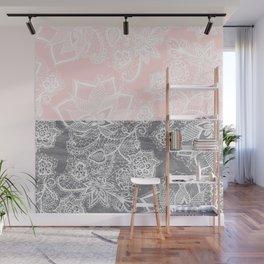 Elegant floral lace gray wood pastel pink block  Wall Mural