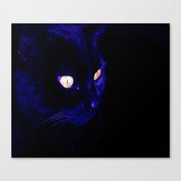 Black Cat Photograph, Halloween Eyes Canvas Print