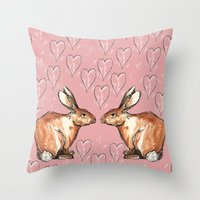 rabbits Throw Pillows featuring Rabbits by Rosie Fossett Design