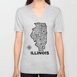 Illinois Map Unisex V-Neck