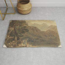 A-mountainous-landscape-with-a-seated-figure by Joshua Cristall Rug