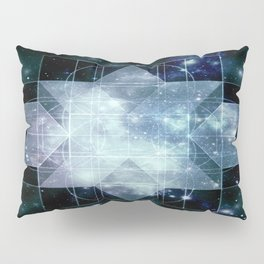 Galaxy Sacred Geometry Rhombic Hexecontahedron Blue Pillow Sham