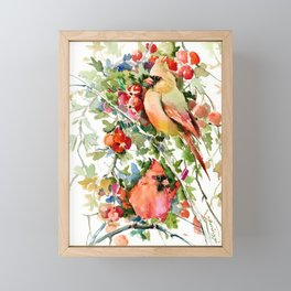 Cardinal Birds and Hawthorn, Cardinal Bird Christmas Design art floral bird decor Framed Mini Art Print