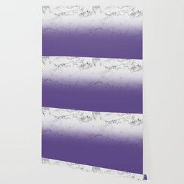 Modern white marble ultra violet purple ombre gradient Wallpaper