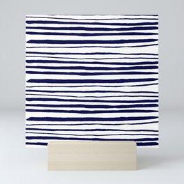 Blue- White- Stripe - Stripes - Marine - Maritime - Navy - Sea -Beach - Summer - Sailor 3 Mini Art Print
