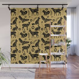 Folk Art Forest Animals, Mustard Wall Mural
