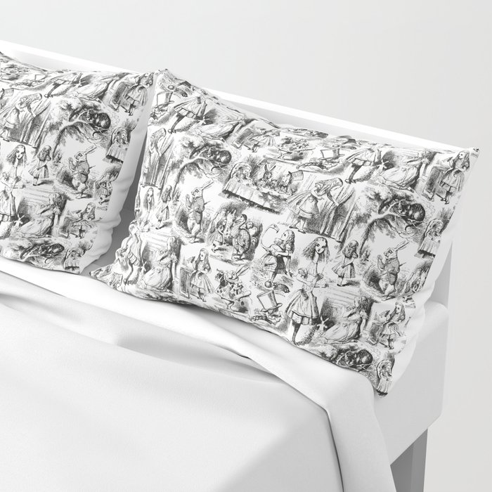 Alice in Wonderland | Toile de Jouy | Black and White Pillow Sham