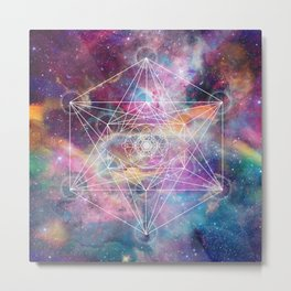 Watercolor and nebula sacred geometry  Metal Print