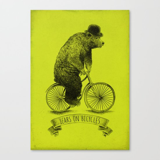 Bears on Bicycles (Lime) Canvas Print