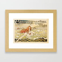 Cabourg Paris Beach art nouveau travel ad Framed Art Print