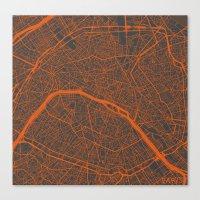 paris map Canvas Prints featuring Paris map by Map Map Maps