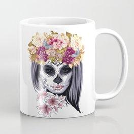 Flower Head Skull Coffee Mug