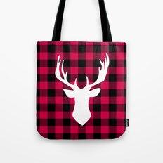 Winter Plaid Deer Tote Bag