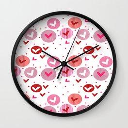 Crafts Chevron cricle pink love heart valentine Wall Clock