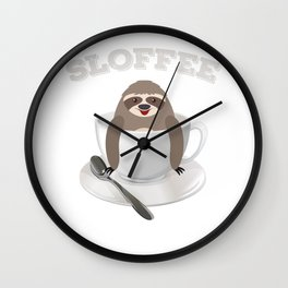 Sloffee Sloth Coffee Sloth In A Cup Christmas Gift Wall Clock
