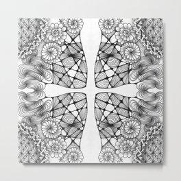 Black and White Zentangled Cross Tile Doodle Design Metal Print