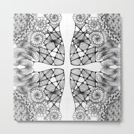 Black and White Zentangled Cross Tile Doodle Design Metal Print