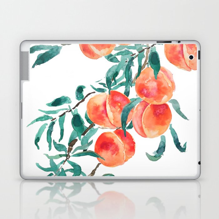 peach watercolor Laptop & iPad Skin