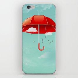 Teal Sky Red Umbrella iPhone Skin