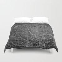paris map Duvet Covers featuring Paris map by Le petit Archiviste