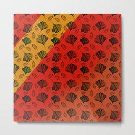 Ginkgo Pattern on Stripe Gradient Metal Print