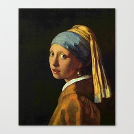 Girl with a Pearl Earring old painting Canvas Print