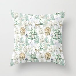 Woodland Animals in Winter Forest Throw Pillow