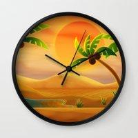 oasis Wall Clocks featuring Oasis by Tatyana Adzhaliyska