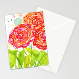 Painterly Peonies II - Watercolor Floral Print  Stationery Cards