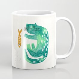 Green cat with fish Coffee Mug